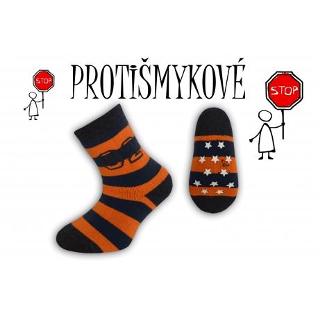 Pásikavé chlapčenské ponožky - tehlové