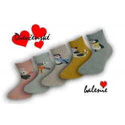 IBA 20-23! Dievčenské bavlnené ponožky - 5 párov