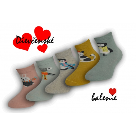 Dievčenské bavlnené ponožky - 5 párov