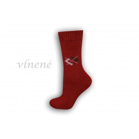 Vlnené dámske ponožky - bordové