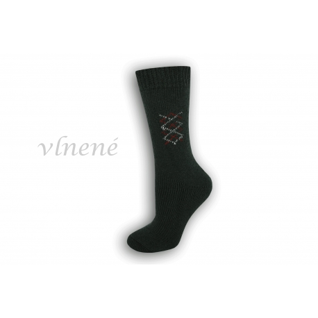 Vlnené dámske ponožky - jedľovo-zelené