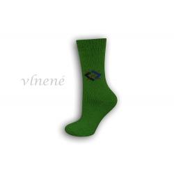 Vlnené dámske ponožky - zelené