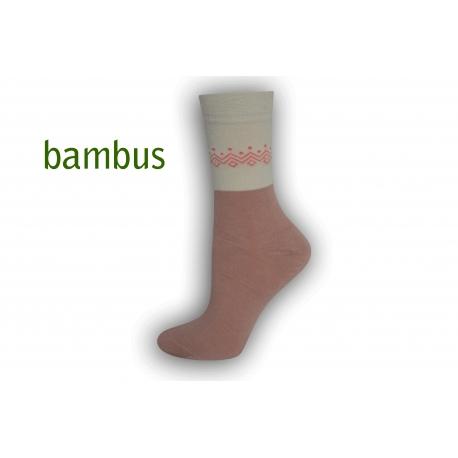 Púdrové bambusové ponožky so vzorom