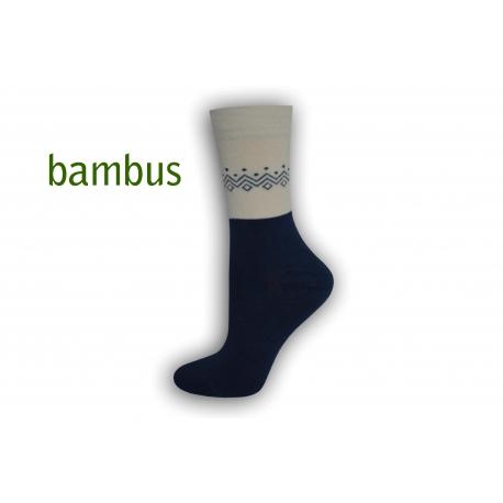 Modré bambusové ponožky so vzorom