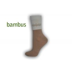 Kapučínové bambusové ponožky so vzorom