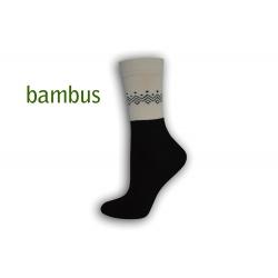 Čierne bambusové ponožky so vzorom