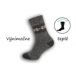 Extra pružné vlnené  pánske ponožky - melír