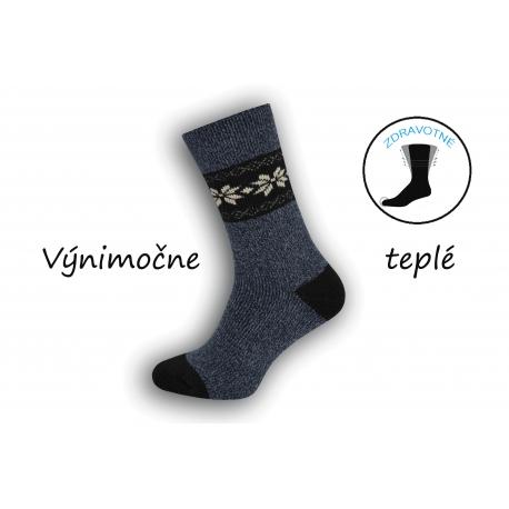 Extra pružné vlnené  pánske ponožky-tm.modré
