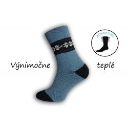 Extra pružné vlnené  pánske ponožky - modručké