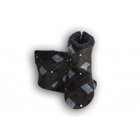 Vzorované pánske papuče - čierno-modré