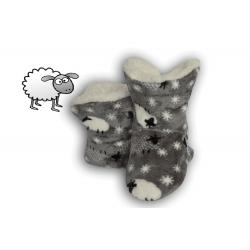 Sivé detské papuče s ovečkami