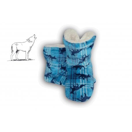 Modré detské papuče s vlkmi