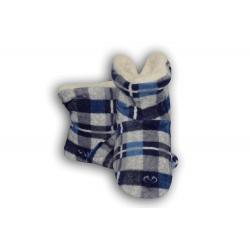 Modré kárované detské papuče