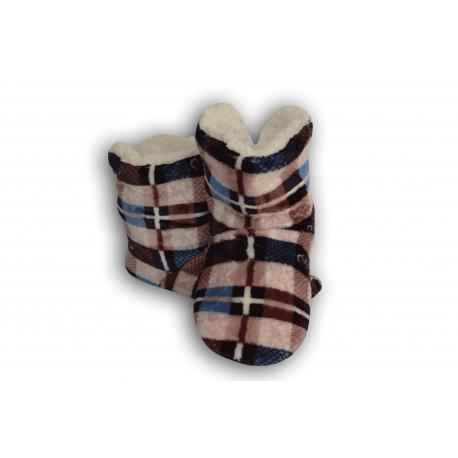 Hnedé kárované detské papuče