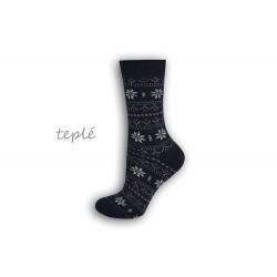 Teplé dámske ponožky s nórskym vzorom - modré