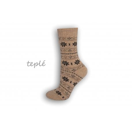 Teplé dámske ponožky s nórskym vzorom – telové