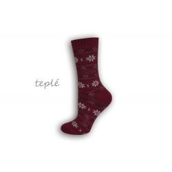 Teplé dámske ponožky s nórskym vzorom – bordové
