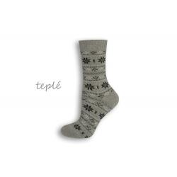 Teplé dámske ponožky s nórskym vzorom – sivé