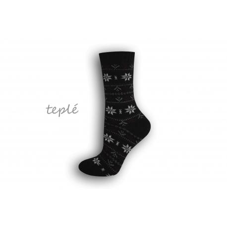 Teplé dámske ponožky s nórskym vzorom – čierne