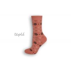 Teplé dámske ponožky s nórskym vzorom – lososové