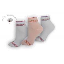 Kvalitné ponožky s ružičkami - 3 páry