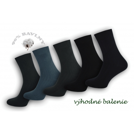 90%-né bavlnené pánske ponožky - 5 párov