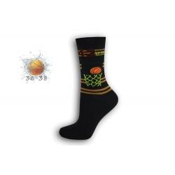 36-38! Modré chlapčenské ponožky s basketom