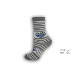 32-35! SPORT sivé detské ponožky s pásikmi