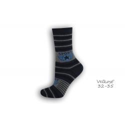 32-35! SPORT modré detské ponožky s pásikmi