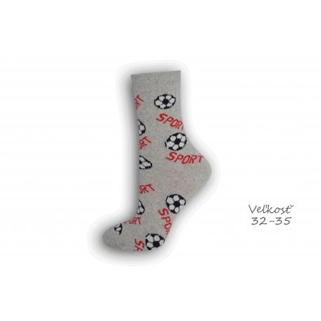 32-35! sivé ponožky s futbalom