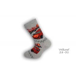 28-31! Chlapčenské  ponožky s autom -  sivé