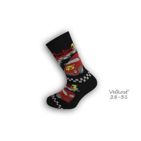 28-31! Chlapčenské ponožky s autom - čierne