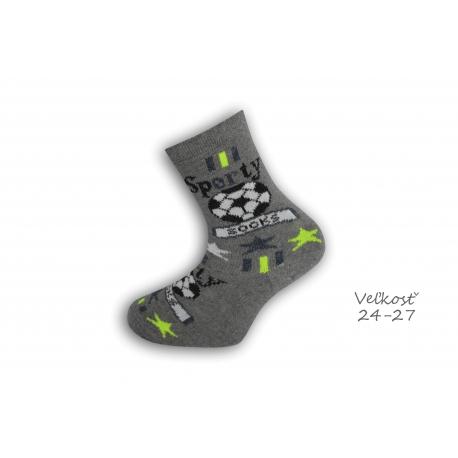 24-27! Detské ponožky pre futbalistu - sivé