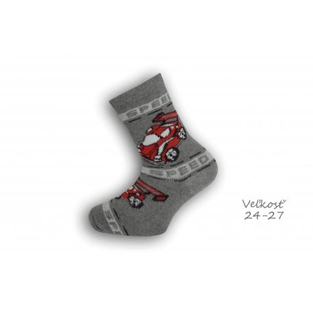 24-27! Bavlnené ponožky s autom