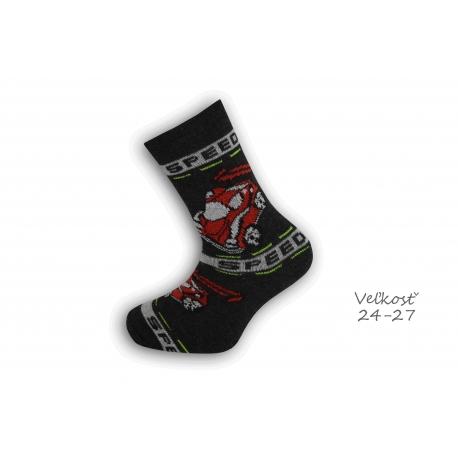 24-27! Bavlnené ponožky s autom - čierne