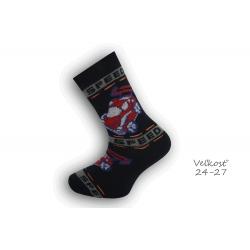 24-27! Bavlnené ponožky s autom - modré