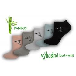 Kotníkové dámske bambusové ponožky - 5 párov