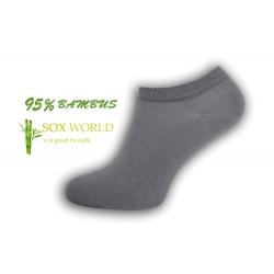 95%-né bambusové členkové ponožky - sivá