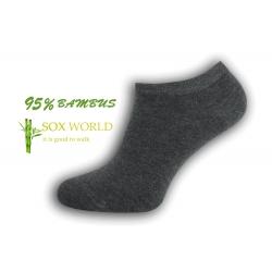 95%-né bambusové členkové ponožky - tm.sivá
