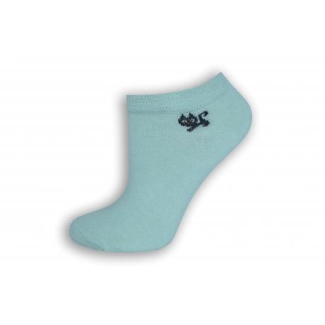 Mentolové členkové ponožky s mačičkou