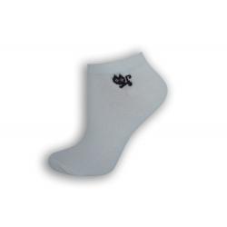 Biele členkové ponožky s mačičkou