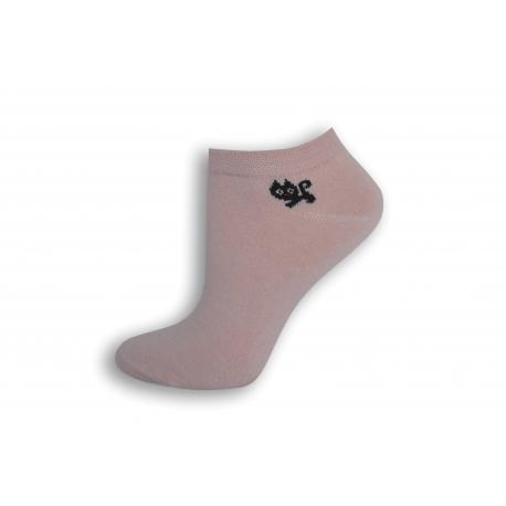 Ružové členkové ponožky s mačičkou