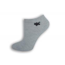 Sivé členkové ponožky s mačičkou