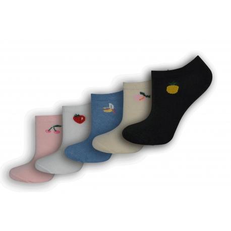 Kotníkové dámske ponožky s ovocím - 5 párov