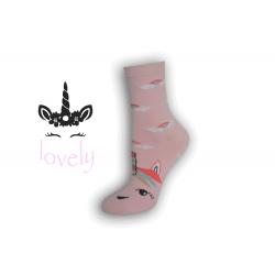 Dámske ponožky s jednorožcom - ružové