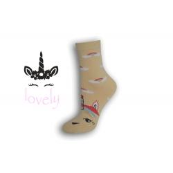 Dámske ponožky s jednorožcom – žlté