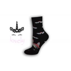 Dámske ponožky s jednorožcom – čierne
