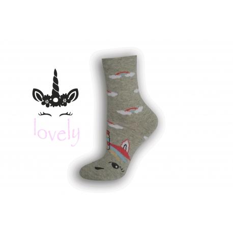Dámske ponožky s jednorožcom – sivé
