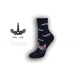 Dámske ponožky s jednorožcom – modré