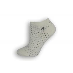 Biele krátke dámske ponožky s bodkami